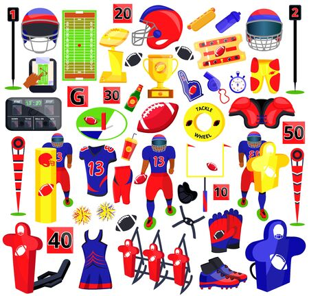 American football sport set. Flat cartoons vector illustration icons on white background. American football: sport gear, helmet, player, field, fan, food, protection, training equipments, referee, cup  イラスト・ベクター素材