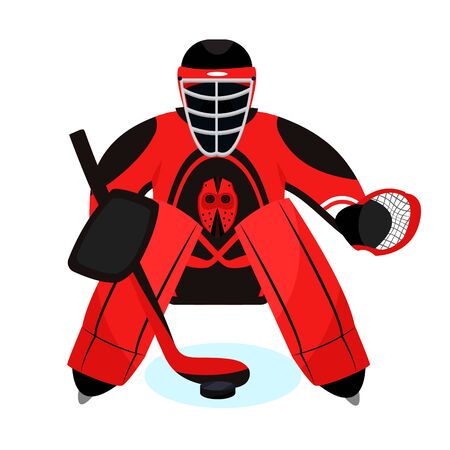Hockey player set. Modern flat cartoons style vector illustration icons. Isolated on white. Hockey. Hockey equipment. Illusztráció
