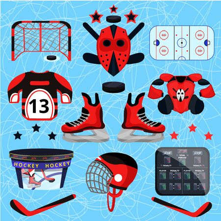 Hockey player set. Modern flat cartoons style vector illustration icons. Isolated on white. Hockey.