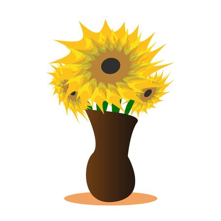 Beautiful bouquet of flowers in vase. Yellow spring, summer autumn flowers. Modern flat cartoons style vector illustration icons. Isolated on white background. Wildflowers. Gerberas, sunflower, helian