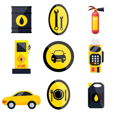 Petrol gas service station set. Flat vector illustrations icon. Isolated on white. Attributes of gas station: canister, petrol pump, car repairs, fast food, POS terminal, electro, eco, benzine, worker Ilustração