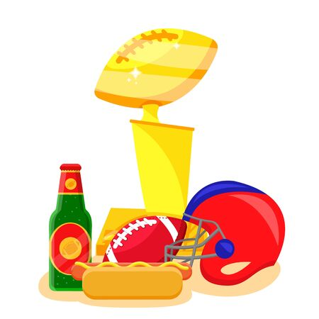 American football sport set. Flat cartoons vector illustration icons on white background. American football: sport gear, helmet, player, field, fan, food, protection, training equipments, referee, cup Illustration