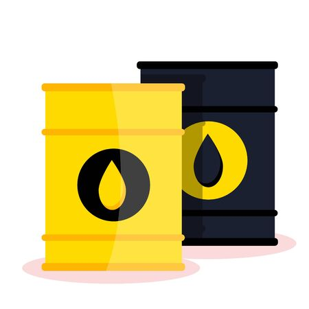 Petrol gas service station set. Flat vector illustrations icon. Isolated on white. Attributes of gas station: canister, petrol pump, car repairs, fast food, POS terminal, electro, eco, benzine, worker Stock Illustratie
