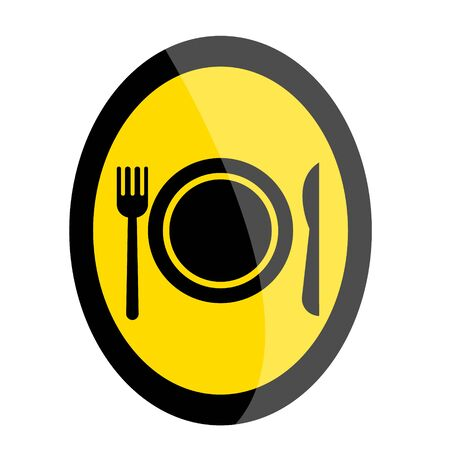 Cafe road sign in black and yellow colors. Modern flat style cartoons vector illustration icon.