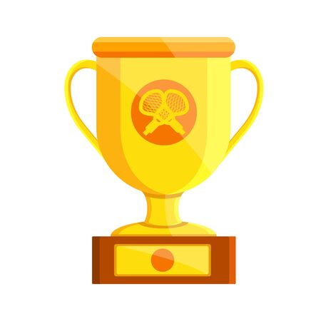 Lacrosse golden cup. Lacrosse awards. Flat cartoon style vector illustration icons. Isolated on white background. Prize, cup, award for lacrosse. Woman, man, female, male lacrosse championship.