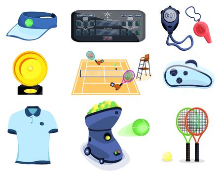 Tennis sport set. Flat cartoons vector illustration icon. Isolated on white. Tennis gear.