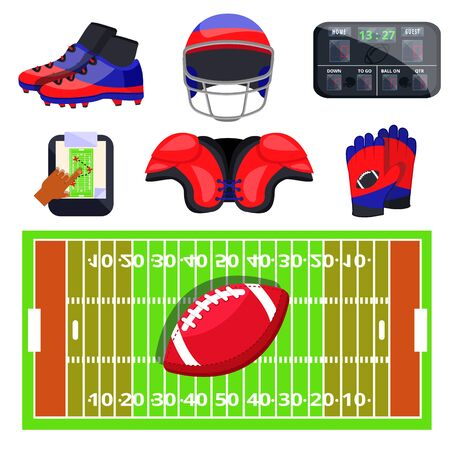 American football sport set. Flat cartoons vector illustration icons on white background.