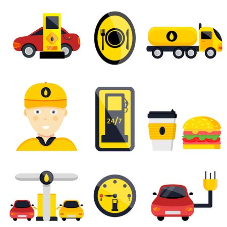 Petrol gas service station set. Flat vector illustrations icon. Isolated on white. Attributes of gas station: canister, petrol pump, car repairs, fast food, POS terminal, electro, eco, benzine, worker Foto de archivo - 129205160