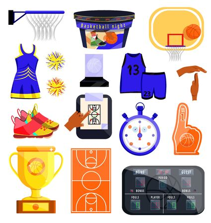 Number 1 (one) fan hand glove with finger raised. Flat cartoons style vector illustration icons isolated on white. Orange number 1 fan hand in glove. Fan accessories. Basketball, soccer, football, fan