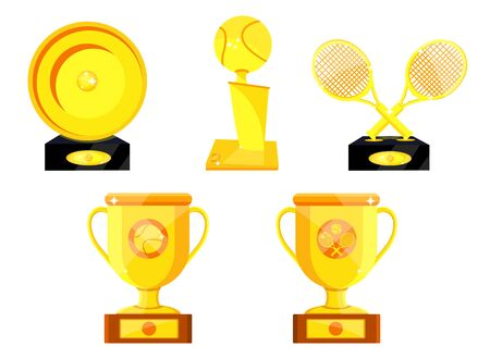 Set of different sport tennis trophy, prize, cup for player. Flat vector illustration icons on white. Tennis gold shiny rewards. Golden trophy. Professional awards for tennis championship, tournament Иллюстрация