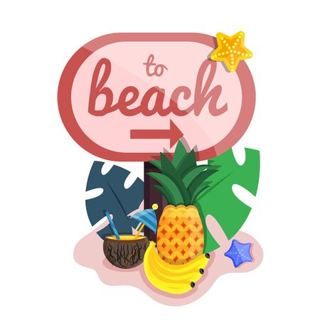 Big cute pink summer time weekend vacation holiday beach accessories set. Surfing diving, swimsuit, umbrella, starlets, fruit, sunbed. Modern flat cartoons vector illustration icons. Isolated on white