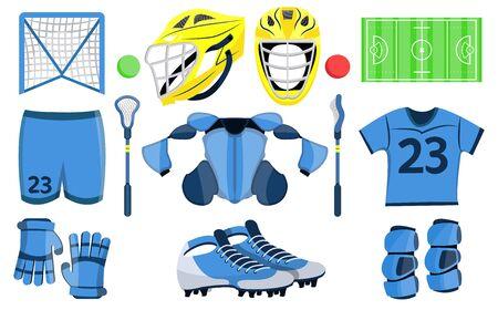 Big lacrosse set. Flat vector illustration icons. Isolated on white. Lacrosse equipments. Goal, wear, ticket, mask, shoes, helmet, stopwatch, food, scoreboard, trophy, referee, gloves. Lacrosse sport.