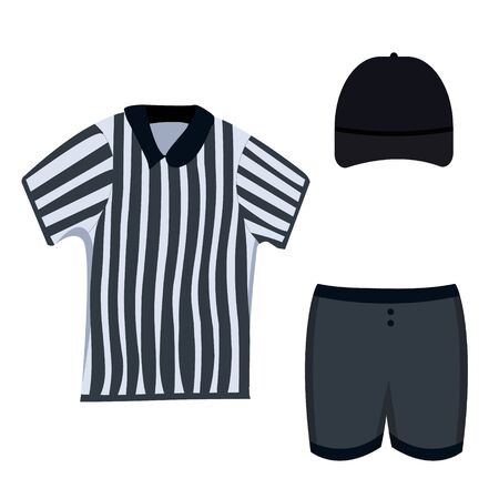 Referee clothing set: black cap, short, striped polo. Lacrosse referee clothes set.Modern flat cartoons style vector illustration icons. Isolated on white background.  Sport referee wear. Blank cap.