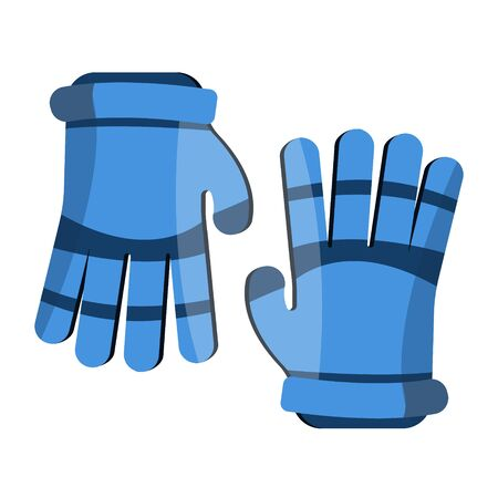Lacrosse gloves. Sport gloves. Flat cartoon style vector illustration icons. Isolated on white. Sport equipment. Lacrosse, hockey, football, soccer gloves for game, match, championship. Blue gloves.