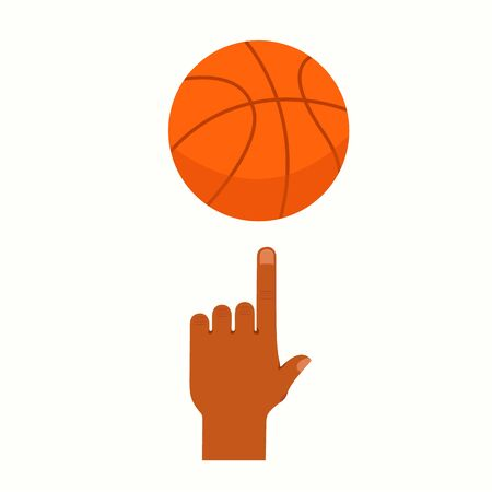 Basketball player hand with ball. Flat cartoon style vector illustration icon. Isolated on white background. Basketball concept. Athlete basketball player spinning the ball on his top of index finger.