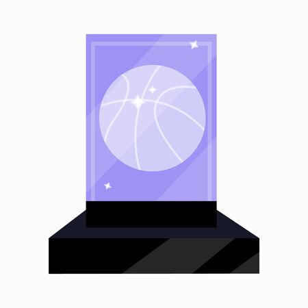 Basketball sports awards premium prize gold reward for best top first player. Shiny pedestal with trophy. Modern flat vector illustration icons on on white. Basketball trophy. Basketball award player.