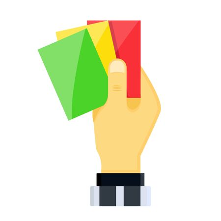 Realistic hands holds out shiny plastic yellow red football lacrosse sport soccer referee cards for fouls, player exclusions. Flat cartoons style vector illustration icons isolated on white background Иллюстрация