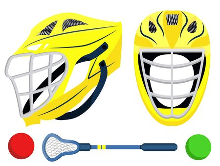 Big lacrosse set. Flat vector illustration icons. Isolated on white. Lacrosse equipments. Goal, wear, ticket, mask, shoes, helmet, stopwatch, food, scoreboard, trophy, referee, gloves. Lacrosse sport.