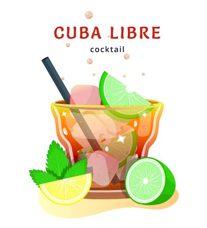 popular alcoholic cocktail. exotic tropical beach bar. fresh drink in glass cup with lime, mint. modern flat cartoon vector illustration icons on white. 矢量图像
