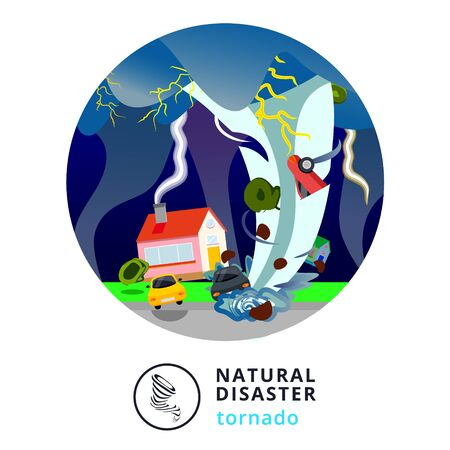 Natural disaster.Tsunami. Modern flat cartoons style vector illustration icons. Isolated on white.Tsunami, Flood Disaster, Overflooded Landscape. Huge wave goes to small town near shore. Tsunami