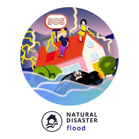 Natural disaster.Tsunami. Modern flat cartoons style vector illustration icons. Isolated on white.