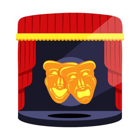 Máscaras teatrales de oro. Comedia y tragedia. Máscaras de teatro de comedia y tragedia con cintas azules y rojas. Iconos de ilustración de vector de estilo de dibujos animados planos modernos.
