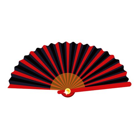 Vintage red japanese spanish traditional retro girl women madam fan. Modern flat vector illustration icon.Isolated on white background. Summer,time,weekend,vacation. Female fan. Retro fan in golden.