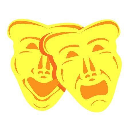 Gold theatrical masks. Comedy and tragedy. Comedy and tragedy theater masks with blue and red ribbons. Modern flat cartoons style vector illustration icons. Isolated on white background. Theater masks Иллюстрация