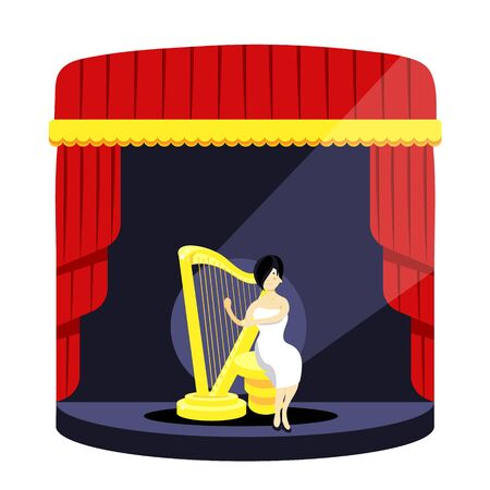 Stage podium with lighting. Stage podium scene for award,ceremony,concert, theater,party,dance,event,show.Theatrical stage. Illustration