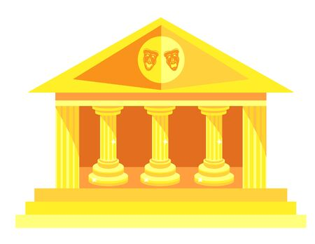 Golden Theater in antique style with columns and theater masks tragedies and comedies on roof.