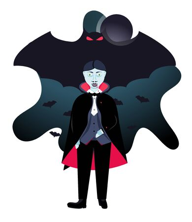 Cute vampire face. Head on shoulders of evil vampire. Modern flat cartoons vector illustration icons. Isolated on white. Dracula vampire. Happy Halloween poster. Halloween flyer with bats and red moon