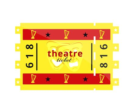Two golden red theatre tickets. Theatre night set concept. Retro vintage style flyer poster template check. Modern flat style vector illustration icons. Isolated on white background. Theatre ticket