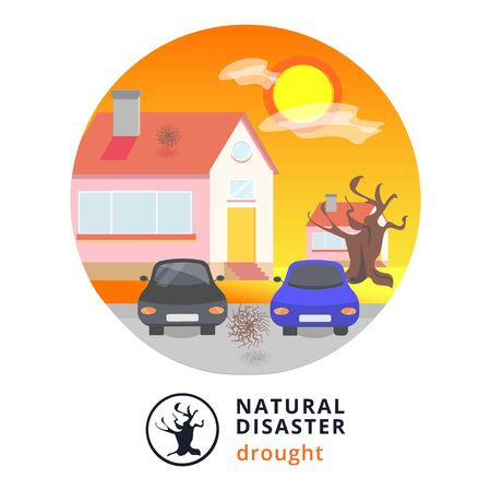 Natural disaster.Tsunami. Modern flat cartoons style vector illustration icons. Isolated on white.Tsunami, Flood Disaster, Overflooded Landscape. Huge wave goes to small town near shore. Tsunami Stock Vector - 129205578