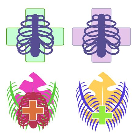 Set of logos for pharmacy, biology club, anatomy, university, school, science, drugstore. Modern flat cartoon style vector illustration on white. Rib cage, thorax with pharmacy cross, palm. Chest.