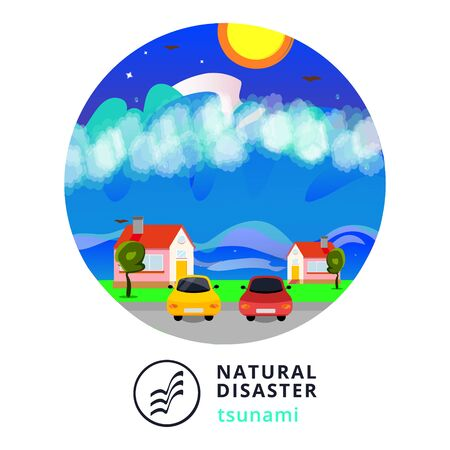 Natural disaster.Tsunami. Modern flat cartoons style vector illustration icons. Isolated on white.Tsunami, Flood Disaster, Overflooded Landscape. Huge wave goes to small town near shore. Tsunami Stock Vector - 129205909
