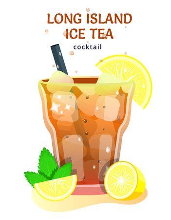 cocktail alcoolisé populaire. bar de plage tropicale exotique. boisson fraîche dans une tasse en verre avec citron vert, menthe. icônes d'illustration vectorielle de dessin animé plat moderne sur blanc.
