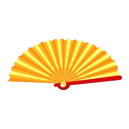 Vintage red japaness spanish traditional retro girl women madam fan. Modern flat vector illustration icon.Isolated on white background. Summer,time,weekend,vacation. Female fan. Retro fan in golden. 矢量图像