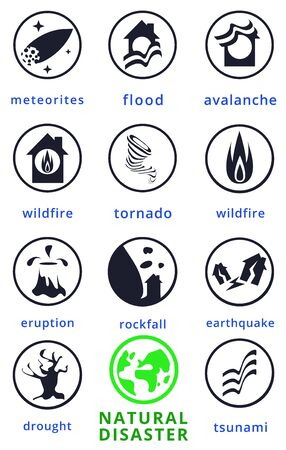 Natural disaster.Tsunami. Modern flat cartoons style vector illustration icons. Isolated on white.Tsunami, Flood Disaster, Overflooded Landscape. Huge wave goes to small town near shore. Tsunami Stock Vector - 129205930