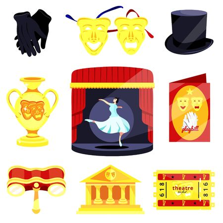 Theater set.Performance actors scenario decorations.Theater acting performance.Modern flat cartoons vector illustration icons.