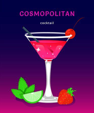 popularny koktajl alkoholowy. egzotyczny tropikalny bar na plaży. świeży napój w szklanym kubku z limonką, miętą. nowoczesne mieszkanie kreskówka wektor ilustracja ikony na białym. Ilustracje wektorowe