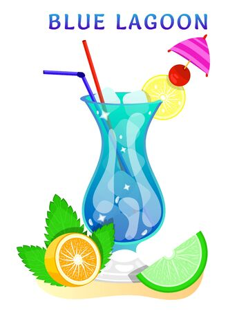 popular alcoholic cocktail. exotic tropical beach bar. fresh drink in glass cup with lime, mint. modern flat cartoon vector illustration icons on white.  イラスト・ベクター素材