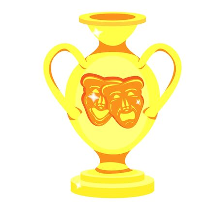 Golden vase in antique style with handles  and theater masks tragedies and comedies.