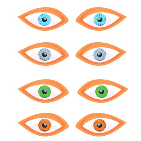 Set of different eyes colors for biology, fashion, cosmetology, cosmetics.Brown, green, blue, gray human eyes. Eye. Modern flat cartoons style vector illustration icons. Isolated on white background.