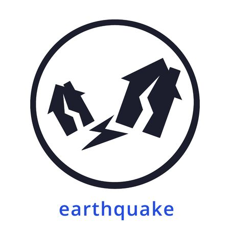 Natural disaster.Tsunami. Modern flat cartoons style vector illustration icons. Isolated on white.Tsunami, Flood Disaster, Overflooded Landscape. Huge wave goes to small town near shore. Tsunami Stock Vector - 129206453