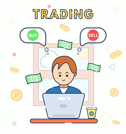 Young character cute smile trader using laptop with idea buying or selling currency. Man sit work at home. Flat line vector illustration. Businessman Trading Stocks. Cryptocurrency exchange. Bitcoin Stock Illustratie