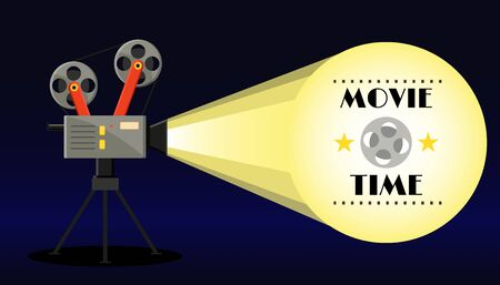 Vintage retro movie camera with light,video tape and star. Movie time banner poster. Cinema flyer. Flat cartoon vector illustration. Online cinema concept. Film-strip, cinematography, art, watching.