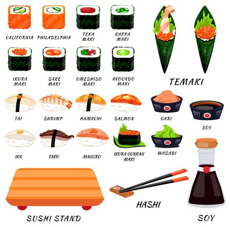 Sushi rolls food japanese. Asian sushi. Sushi bar,restaurant,accessories.
