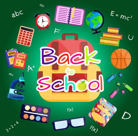 Welcome back to school banner,poster with colorful school supplies,education tools,bag,book. Flat cartoon vector illustration. Isolated on blue background. First day in school. School stationery. Stockfoto - 131795881