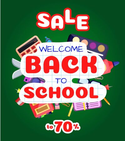 Welcome back to school banner,poster with colorful school supplies,education tools,bag,book. Flat cartoon vector illustration. Isolated on blue background. First day in school. School stationery. Stockfoto - 131795153