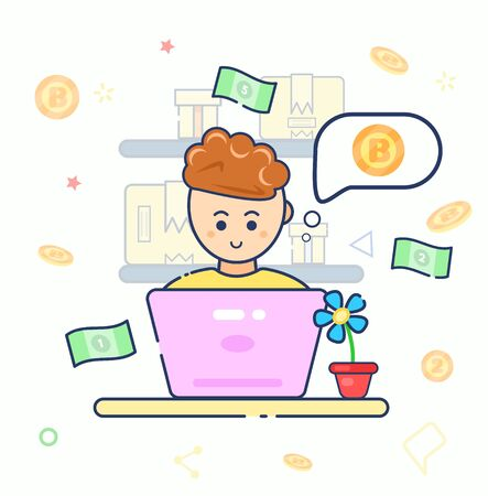 Young character cute smile trader using laptop with idea buying or selling currency. Man sit work at home. Flat line vector illustration. Businessman mine Ethereum. Cryptocurrency exchange. Bitcoin